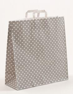 Papiertragetaschen mit Flachhenkel Punkte grau 45 x 17 x 47 cm, 150 Stück