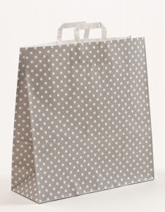 Papiertragetaschen mit Flachhenkel Punkte grau 45 x 17 x 47 cm, 050 Stück