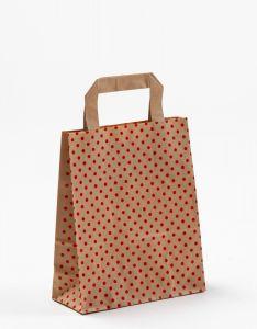 Papiertragetaschen mit Flachhenkel Punkte rot auf braun natur 18 x 8 x 22 cm, 050 Stück
