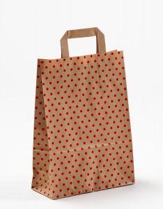 Papiertragetaschen mit Flachhenkel Punkte rot auf braun natur 22 x 10 x 31 cm, 025 Stück