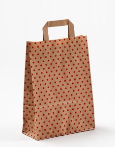 Papiertragetaschen mit Flachhenkel Punkte rot auf braun natur 22 x 10 x 31 cm, 150 Stück