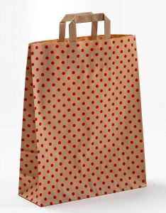 Papiertragetaschen mit Flachhenkel Punkte rot auf braun natur 32 x 12 x 40 cm, 100 Stück