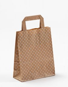 Papiertragetaschen mit Flachhenkel Punkte weiß auf braun natur 18 x 8 x 22 cm, 025 Stück