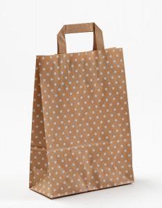 Papiertragetaschen mit Flachhenkel Punkte weiß auf braun natur 22 x 10 x 31 cm, 100 Stück