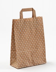 Papiertragetaschen mit Flachhenkel Punkte weiß auf braun natur 22 x 10 x 31 cm, 250 Stück