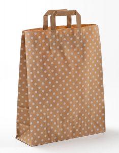 Papiertragetaschen mit Flachhenkel Punkte weiß auf braun natur 32 x 12 x 40 cm, 050 Stück