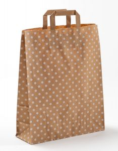 Papiertragetaschen mit Flachhenkel Punkte weiß auf braun natur 32 x 12 x 40 cm, 150 Stück