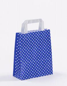 Papiertragetaschen mit Flachhenkel Punkte blau 18 x 8 x 22 cm, 025 Stück