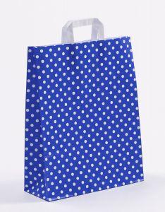 Papiertragetaschen mit Flachhenkel Punkte blau 32 x 12 x 40 cm, 050 Stück