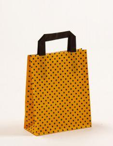 Papiertragetaschen mit Flachhenkel Punkte gelb/schwarz 18 x 8 x 22 cm, 150 Stück