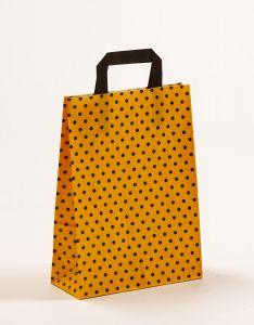 Papiertragetaschen mit Flachhenkel Punkte gelb/schwarz 22 x 10 x 31 cm, 050 Stück