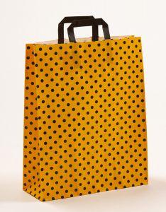 Papiertragetaschen mit Flachhenkel Punkte gelb/schwarz 32 x 12 x 40 cm, 050 Stück