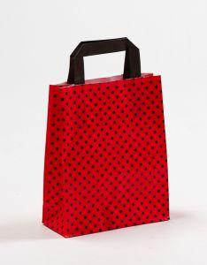 Papiertragetaschen mit Flachhenkel Punkte rot/schwarz 18 x 8 x 22 cm, 025 Stück