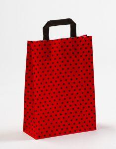 Papiertragetaschen mit Flachhenkel Punkte rot/schwarz 22 x 10 x 31 cm, 050 Stück