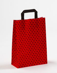 Papiertragetaschen mit Flachhenkel Punkte rot/schwarz 22 x 10 x 31 cm, 025 Stück