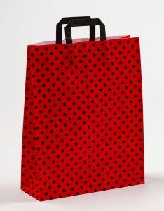 Papiertragetaschen mit Flachhenkel Punkte rot/schwarz 32 x 12 x 40 cm, 050 Stück