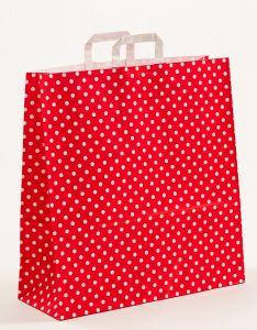 Papiertragetaschen mit Flachhenkel Punkte rot 45 x 17 x 47 cm, 100 Stück