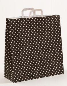 Papiertragetaschen mit Flachhenkel Punkte schwarz 45 x 17 x 47 cm, 050 Stück