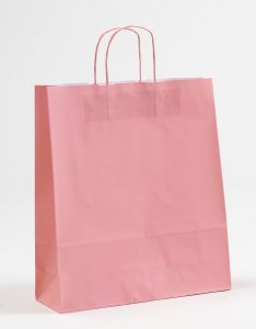 Papiertragetaschen mit gedrehter Papierkordel rosa rosé 36 x 12 x 41 cm, 050 Stück