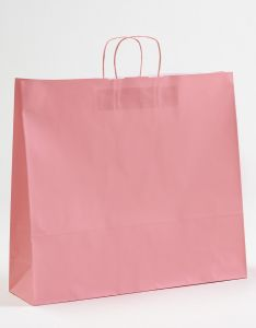 Papiertragetaschen mit gedrehter Papierkordel rosa rosé 54 x 14 x 50 cm, 100 Stück