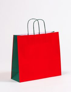 Papiertragetaschen mit gedrehter Papierkordel rot/grün 36 x 12 x 31 cm, 25 Stück