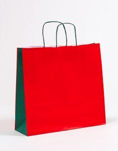Papiertragetaschen mit gedrehter Papierkordel rot/grün 40 x 12 x 36 cm, 100 Stück