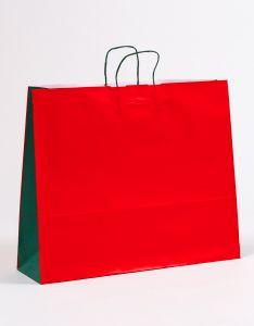 Papiertragetaschen mit gedrehter Papierkordel rot/grün 54 x 15 x 44 cm, 025 Stück
