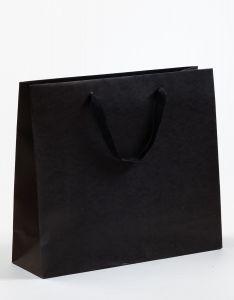 Papiertragetaschen Royal mit Baumwollbändern schwarz 42 x 13 x 37 + 6 cm, 050 Stück