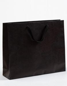 Papiertragetaschen Royal mit Baumwollbändern schwarz 54 x 14 x 44,5 + 6 cm, 025 Stück
