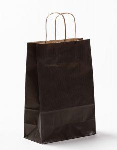Papiertragetaschen mit gedrehter Papierkordel schwarz 22 x 10 x 31 cm, 050 Stück