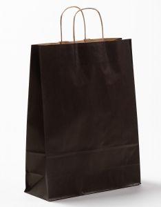 Papiertragetaschen mit gedrehter Papierkordel schwarz 32 x 12 x 41 cm, 200 Stück