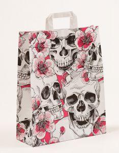Papiertragetaschen mit Flachhenkel Skulls & Flowers 32 x 12 x 40 cm, 150 Stück