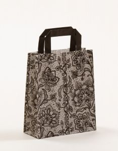Papiertragetaschen mit Flachhenkel Spitze schwarz 18 x 8 x 22 cm, 025 Stück