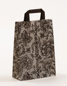 Papiertragetaschen mit Flachhenkel Spitze schwarz 22 x 10 x 31 cm, 050 Stück