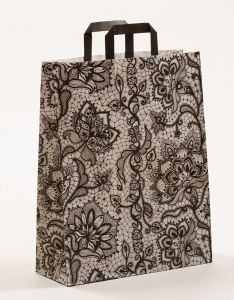Papiertragetaschen mit Flachhenkel Spitze schwarz 32 x 12 x 40 cm, 250 Stück