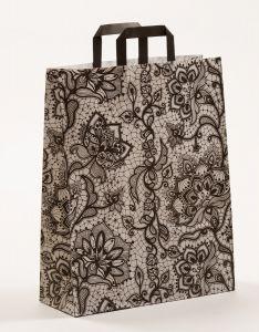 Papiertragetaschen mit Flachhenkel Spitze schwarz 32 x 12 x 40 cm, 025 Stück
