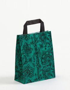 Papiertragetaschen mit Flachhenkel Spitze smaragd 18 x 8 x 22 cm, 100 Stück