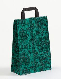 Papiertragetaschen mit Flachhenkel Spitze smaragd 22 x 10 x 31 cm, 025 Stück