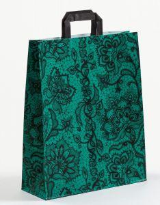 Papiertragetaschen mit Flachhenkel Spitze smaragd 32 x 12 x 40 cm, 100 Stück