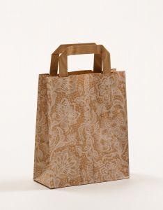 Papiertragetaschen mit Flachhenkel Spitze weiß 18 x 8 x 22 cm, 100 Stück