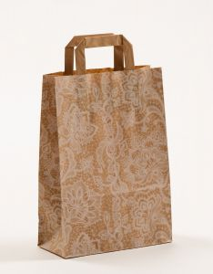 Papiertragetaschen mit Flachhenkel Spitze weiß 22 x 10 x 31 cm, 025 Stück