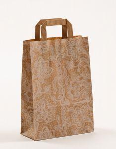 Papiertragetaschen mit Flachhenkel Spitze weiß 22 x 10 x 31 cm, 050 Stück