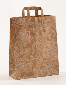 Papiertragetaschen mit Flachhenkel Spitze weiß 32 x 12 x 40 cm, 250 Stück