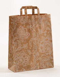 Papiertragetaschen mit Flachhenkel Spitze weiß 32 x 12 x 40 cm, 025 Stück