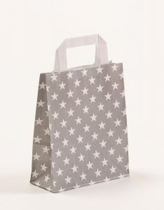 Papiertragetaschen mit Flachhenkel Sterne grau 18 x 8 x 22 cm, 150 Stück
