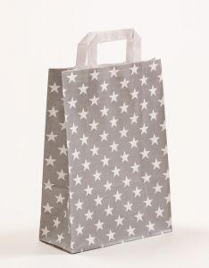 Papiertragetaschen mit Flachhenkel Sterne grau 22 x 10 x 31 cm, 100 Stück