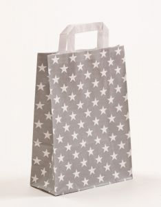 Papiertragetaschen mit Flachhenkel Sterne grau 22 x 10 x 31 cm, 150 Stück