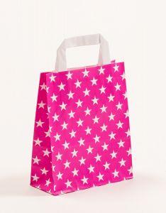 Papiertragetaschen mit Flachhenkel Sterne pink 18 x 8 x 22 cm, 025 Stück