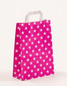 Papiertragetaschen mit Flachhenkel Sterne pink 22 x 10 x 31 cm, 100 Stück