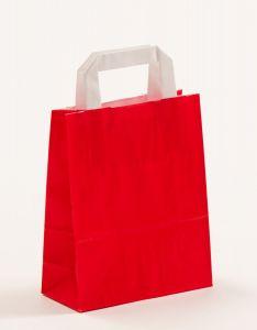 Papiertragetaschen mit Flachhenkel rot 18 x 8 x 22 cm, 025 Stück